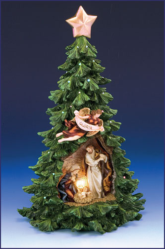 125 LIGHTED CHRISTMAS TREE WITH HOLY FAMILY