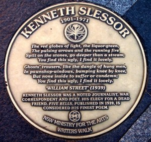 Kenneth Slessor's plaque on the Writers Walk at Circular Quay