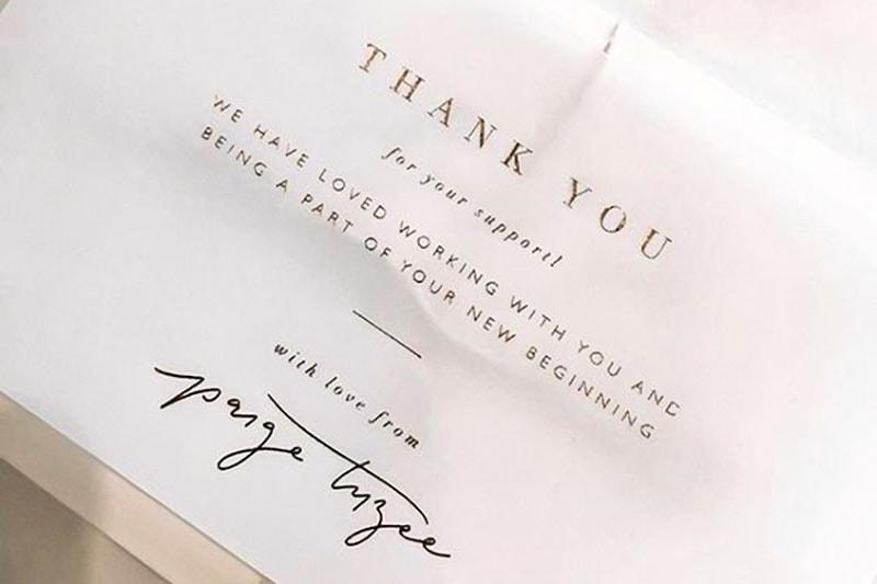 Thank you card di Paige Tuzée. Dizionario di grafica di Marianna Milione