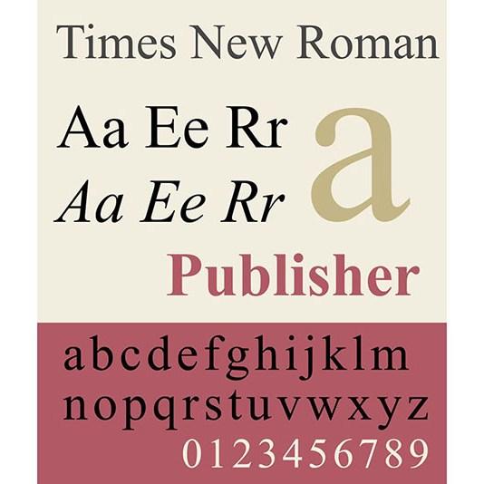 Carattere tipografico Times New Roman. Dizionario di grafica di Marianna Milione