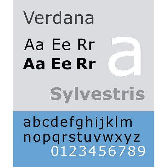 Carattere tipografico Verdana. Dizionario di grafica di Marianna Milione