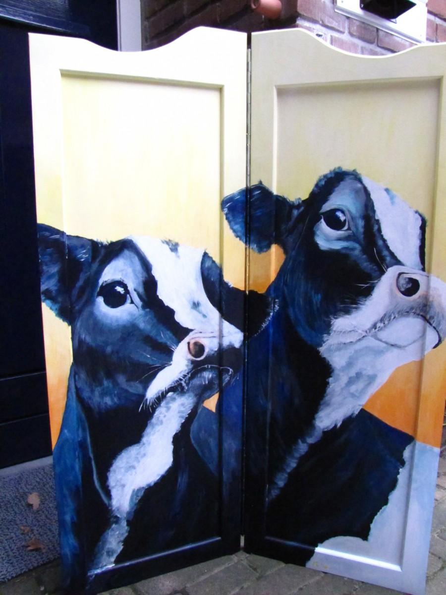 Koeien op paneel schilderij