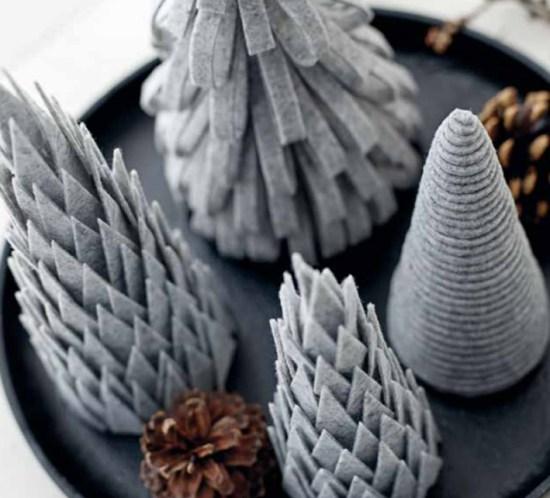 DIY Lag selv juledekorasjoner - Juletrær av filt