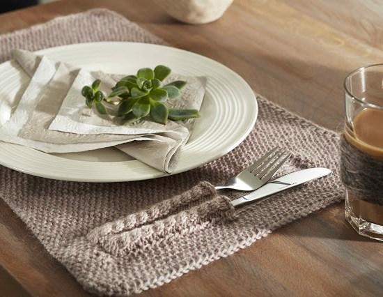 DIY Strikk spisebrikke:bordbrikke