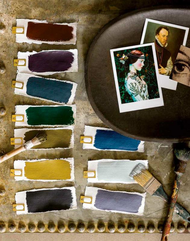 Fargeprøver på ulike farger.