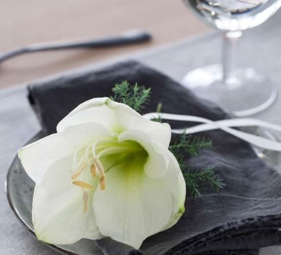 Pynt servietten med levende blomster Foto Mester Grønn