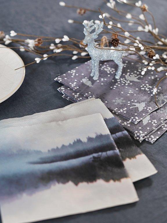 borddekkingstips grått blått julebord