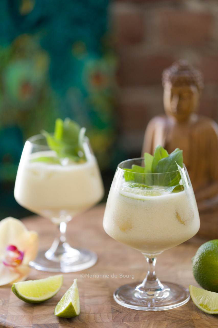 Thai-cocktail with cardamon and lemon grass syrup