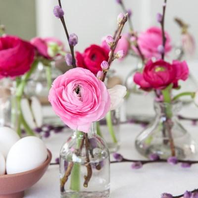 Småvaser med rosa ranunkler og gåsunger