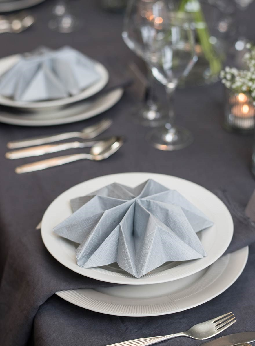 TABLE SETTING with both paper napkins and linen napkins