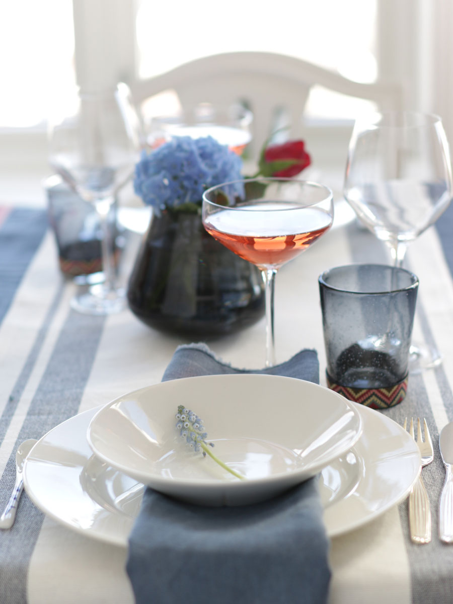 Red, white and blue table setting