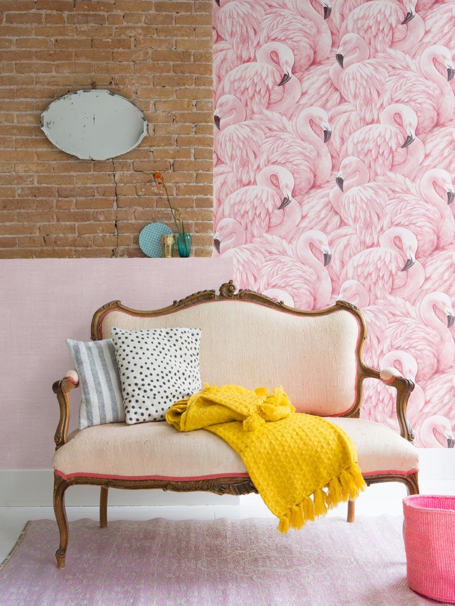 Flamingo Colourful Living Wallpaper