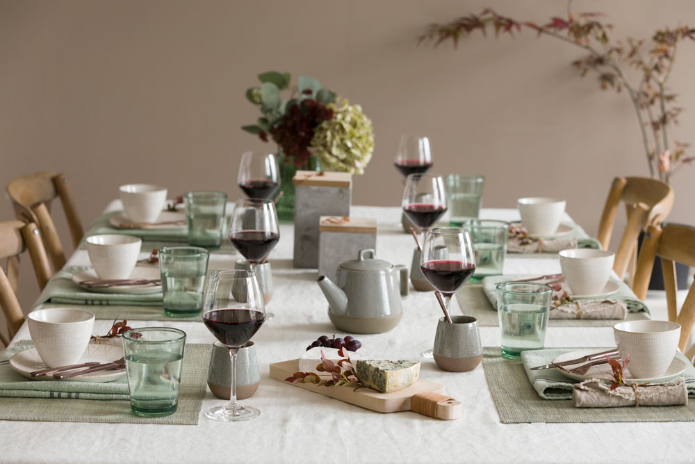 My table setting for an evening with cheese, wine and good friends!