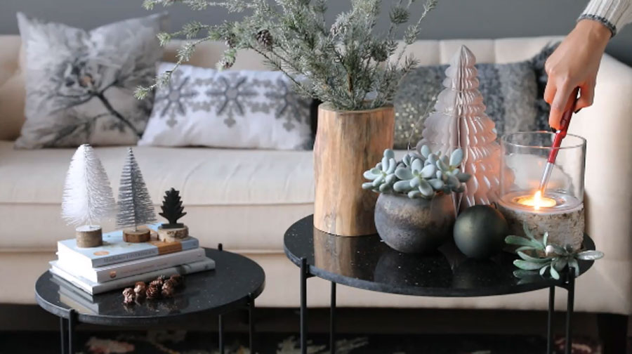 Christmas coffee table styling