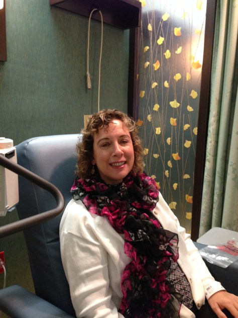 M's last injection for the ovarian cancer vaccine study; at Abington Memorial Hospital