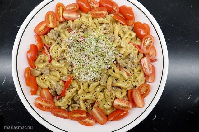 Fläskfilé och gorgonzolapasta
