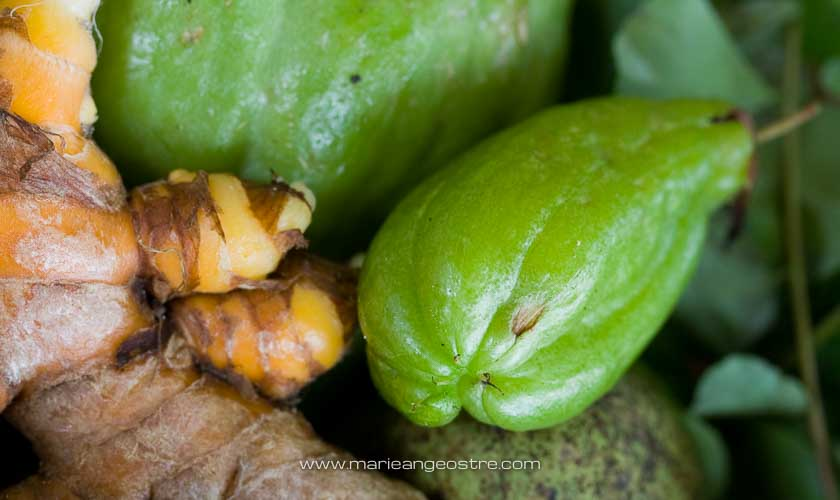 Seychelles, racine de curcuma et bilimbi © Marie-Ange Ostré