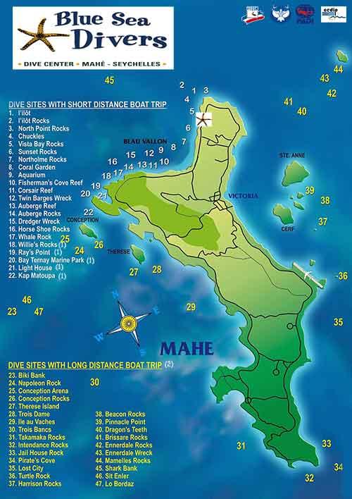 Seychelles, carte des sites de plongée à Mahé avec le centre Blue Sea Divers © Sylvain Mortier