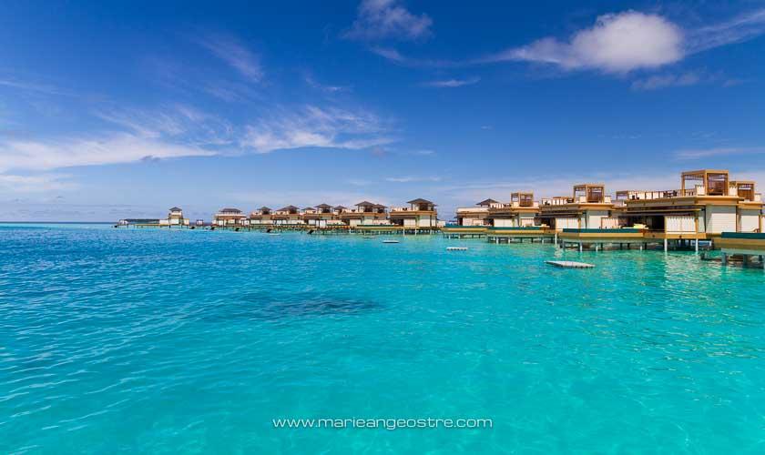Maldives, hôtel Angsana Velavaru, villas sur lagon © Marie-Ange Ostré