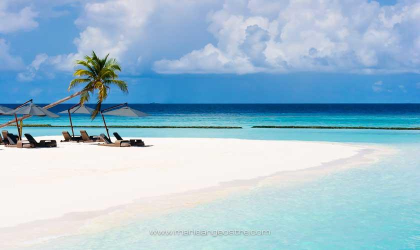 Maldives, hôtel Halaveli Resort, plage © Marie-Ange Ostré