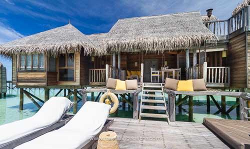 Maldives, hôtel Soneva Gili rebaptisé Lankanfushi, villa sur pilotis © Marie-Ange Ostré