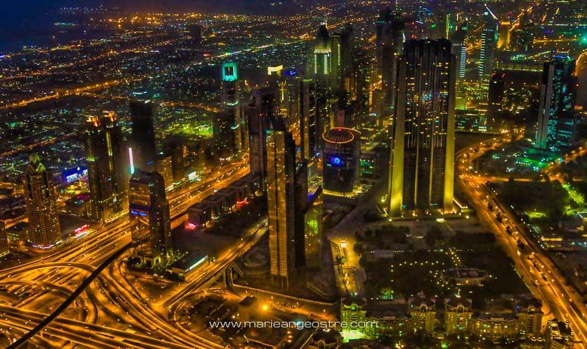 Dubai de nuit, depuis la tour Burj Khalifa © Marie-Ange Ostré