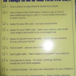 first few days checklist