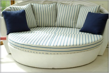 Designer Furniture : Garden pool furniture Sentosa Ottoman with Ralph Laren bespoke cushions