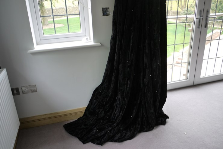 Bespoke Curtains : Black Kandola crushed velvet with swarovski crystals at Marie Charnley Interiors
