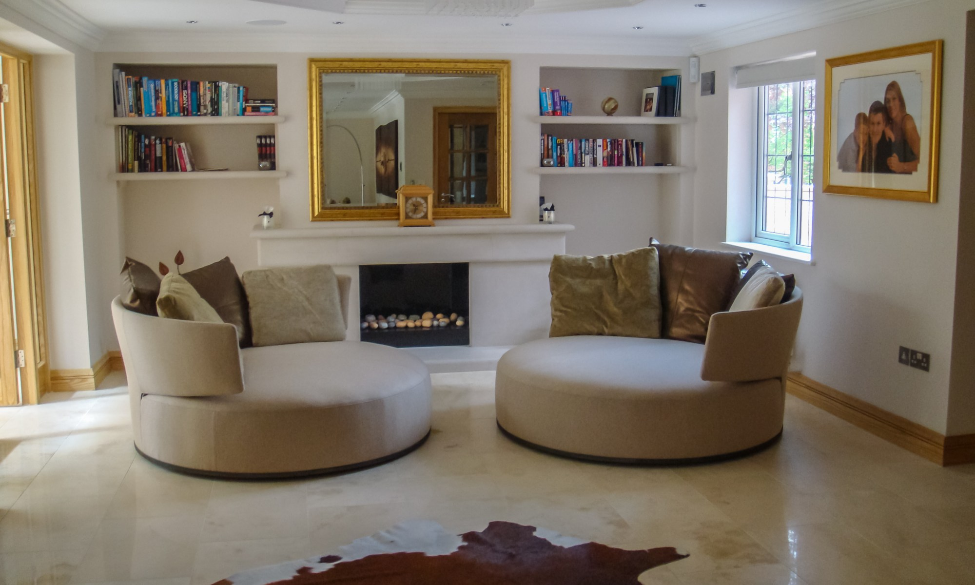 Residential Homes : B&B Italia Max Alto Amoenus swivel chairs in gold at Marie Charnley Interiors