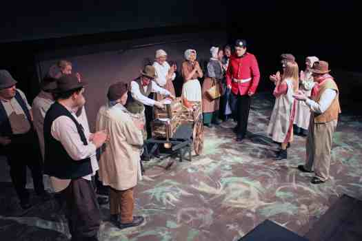 Photograph of Marie Cooper Actor in the Cheap Jack Scene in Lark Rise, Sewell Barn Theatre, Norwich
