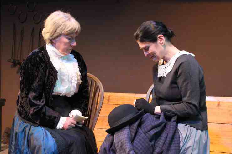 Photograph of Mrs Macey played by Marie Cooper actor and Dorcas Lane played by Lyn Smith in Candleford at Sewell Barn Theatre