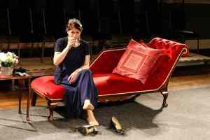 Photo of Marie Cooper actor as Anna Mary drinking bourbon on the rocks onstage during Come into the Garden, Maud