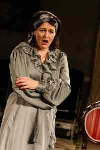 Photo of Marie Cooper Actor as Anna Mary Conklin shocked at Maud insulting her guests onstage during Come into the Garden, Maud