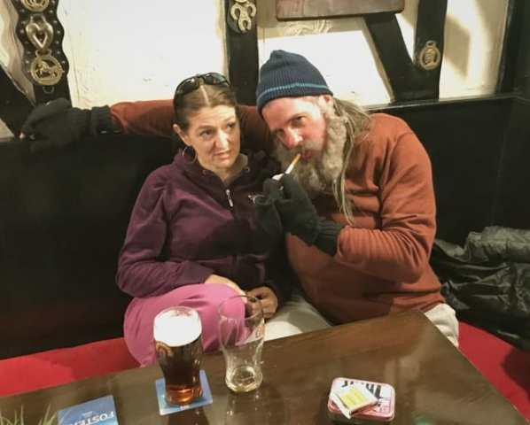 Marie Cooper and Paul Goldsmith - on the set of Hellthy, filmed in Great Yarmouth with IW Films
