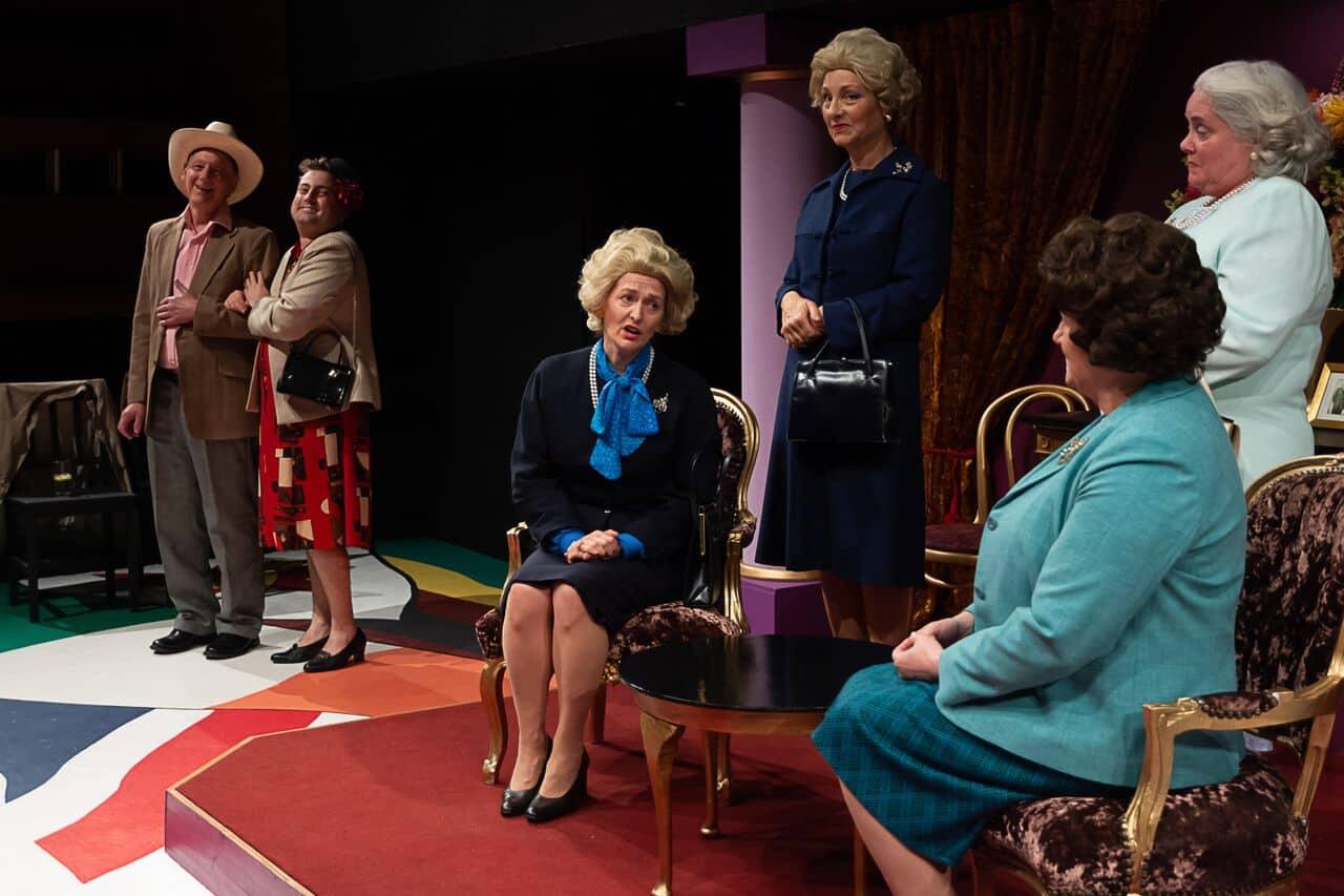 Marie Cooper portraying Margaret Thatcher