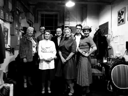 Marie Cooper Actor as Hilda, along with the cast of Someone Waiting. Black and white image