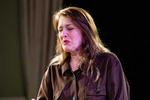 Norfolk actor Marie Cooper playing Ann Wingate in Murder in Neighbourhood Watch. Ann breaks down