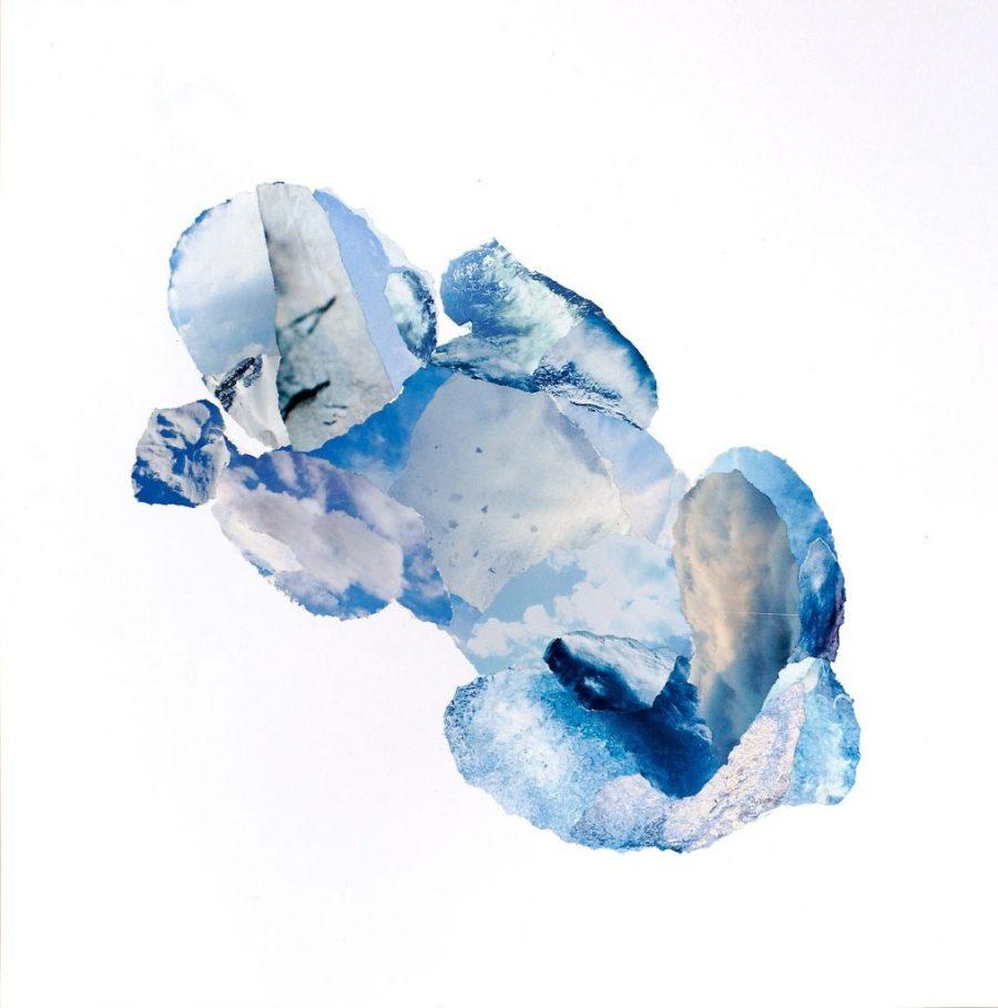 collage blauwe baby, tijdschriftsnippers op papier