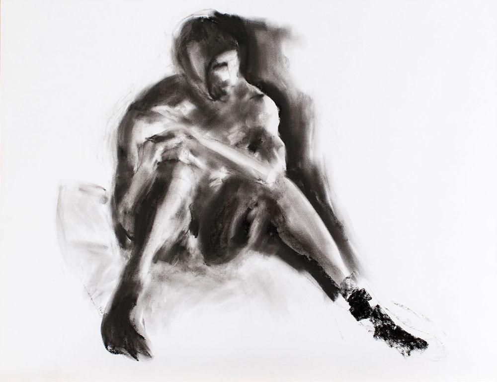 tekening zittende man, houtskool