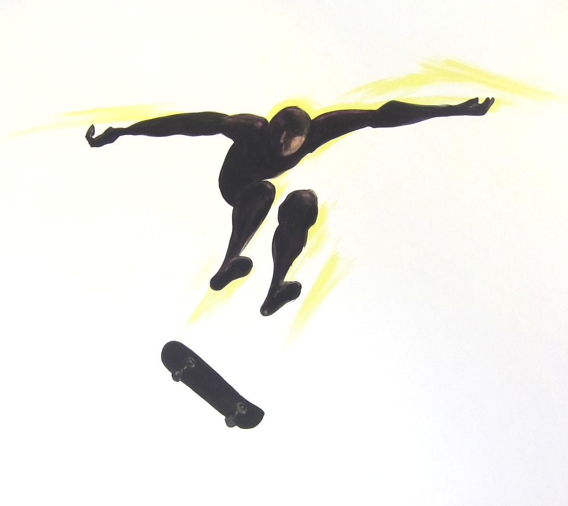 muurschildering skateboarder