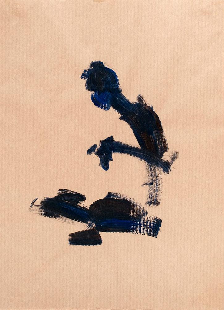 tekening zittende man, acryl