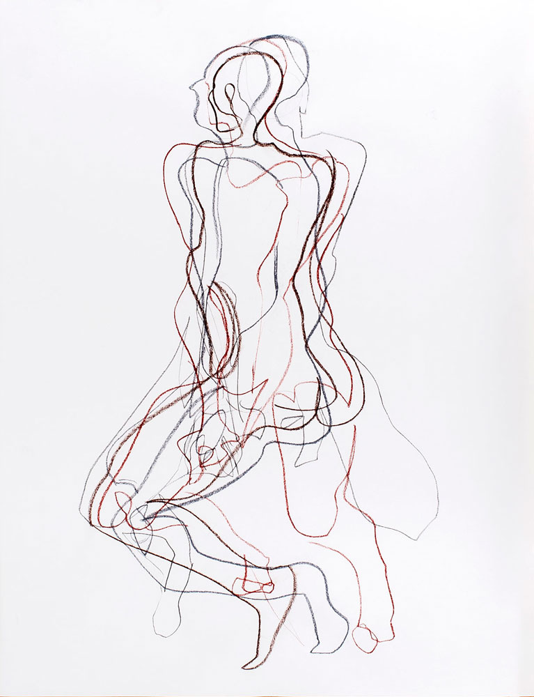 tekening zittende man, krijt