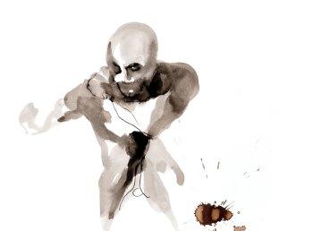 Tekening zittende man, inkt