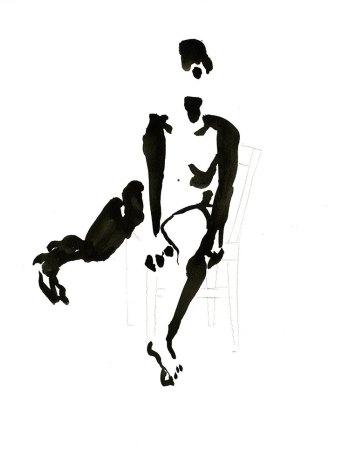 Tekening vrouw op stoel, inkt