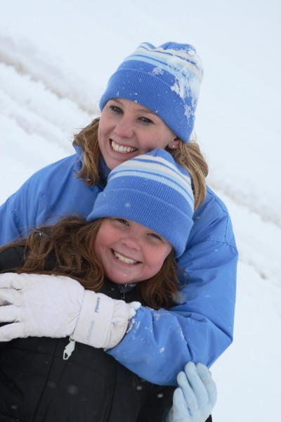 sisters in the snow
