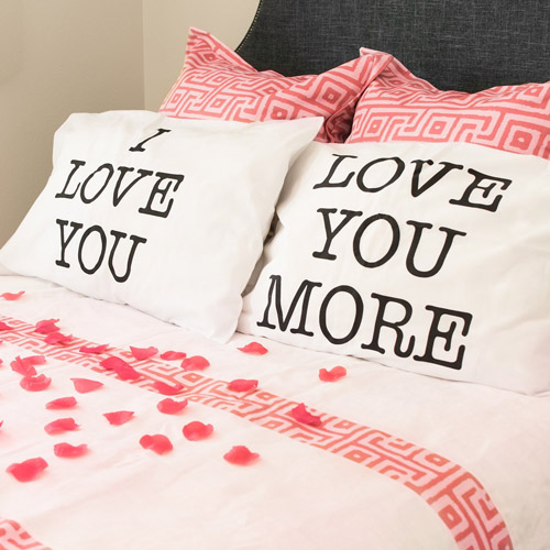I Love You & Love You More Cotton Polyester Standard Size Pillowcase Pair