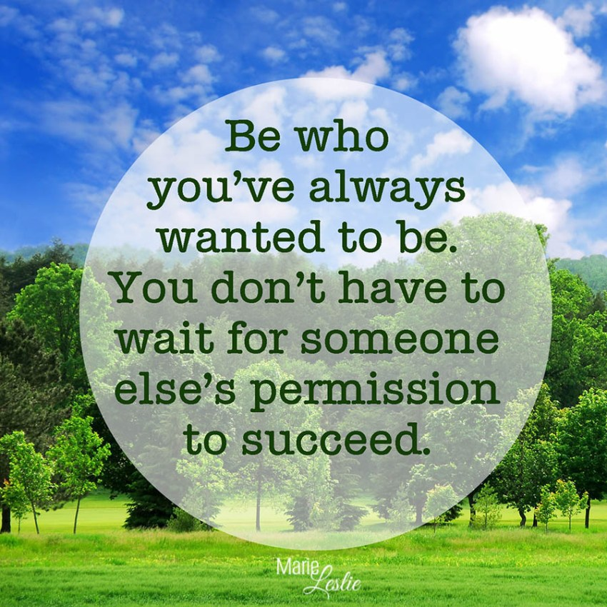 Be who you've always wantaed to be. You don't have to wait for someone else's permission to succeed.