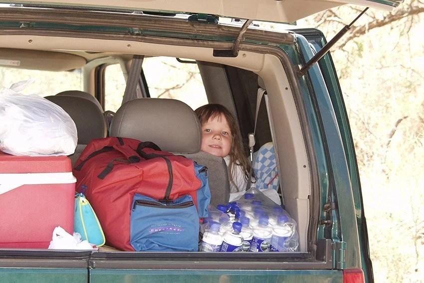 loaded road trip car