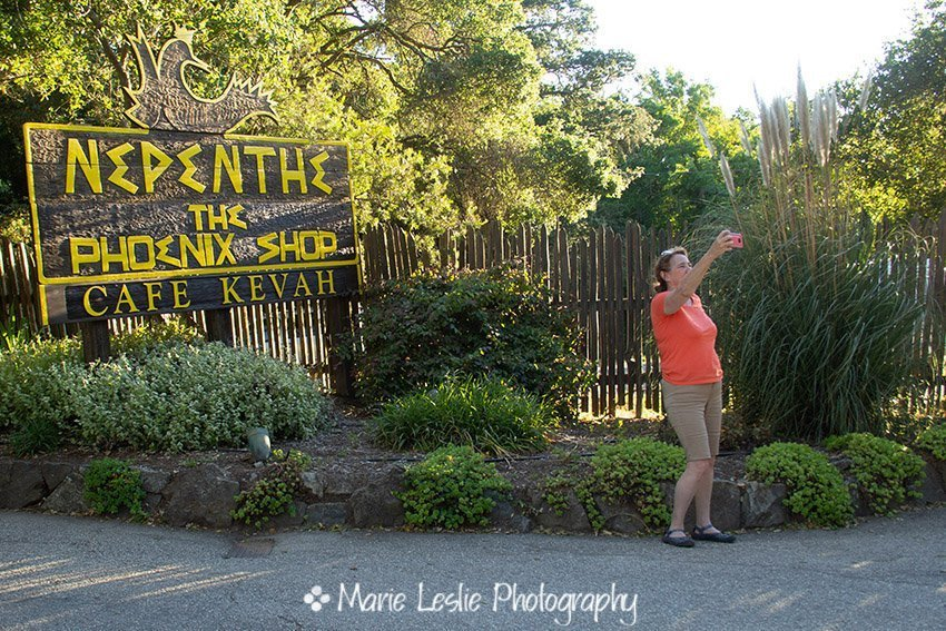Marie in front of Nepenthe